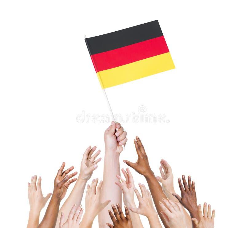 Deutschland-Flagge übergibt europäisches Land stockfotos
