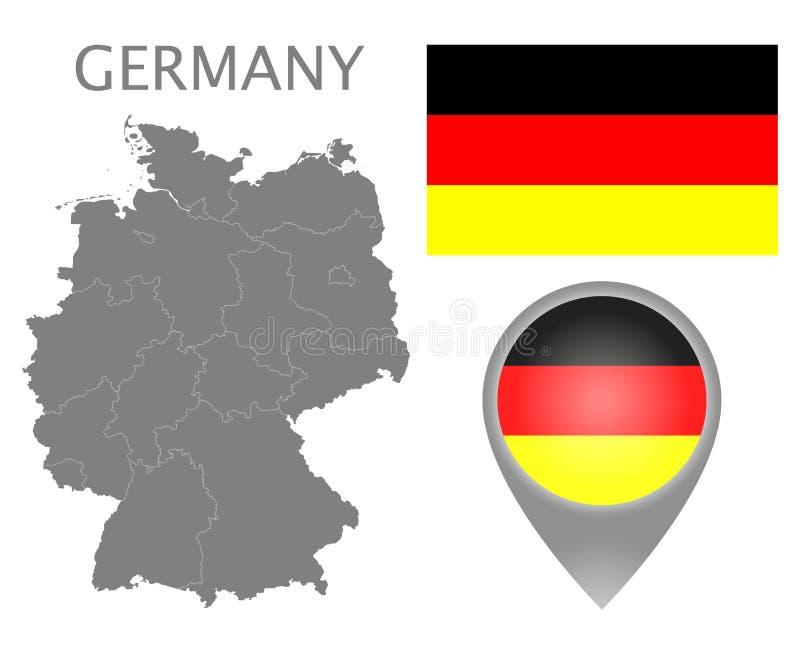 Deutschland-Flagge, Kartenzeiger und Karte mit Abteilung auf Erde stock abbildung
