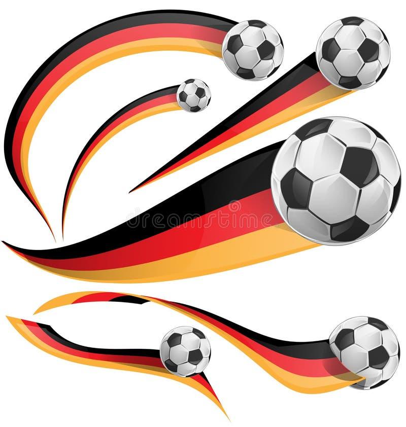 Deutschland-Flagge mit Fußball lizenzfreie abbildung