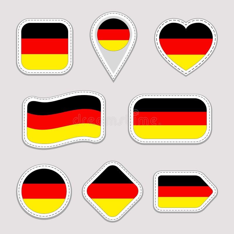 Deutschland-Flaggen-Vektor-Satz Deutscher kennzeichnet Aufklebersammlung Lokalisierte geometrische Ikonen Ausweise der nationalen vektor abbildung