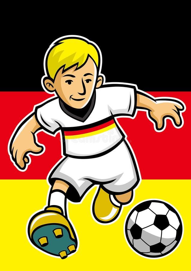Deutschland-Fußballspieler mit Flaggenhintergrund stock abbildung