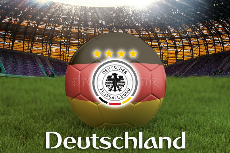 Deutschland on Germany language on football team ball on big stadium background with Germany Team logo competition concept. German royalty free illustration