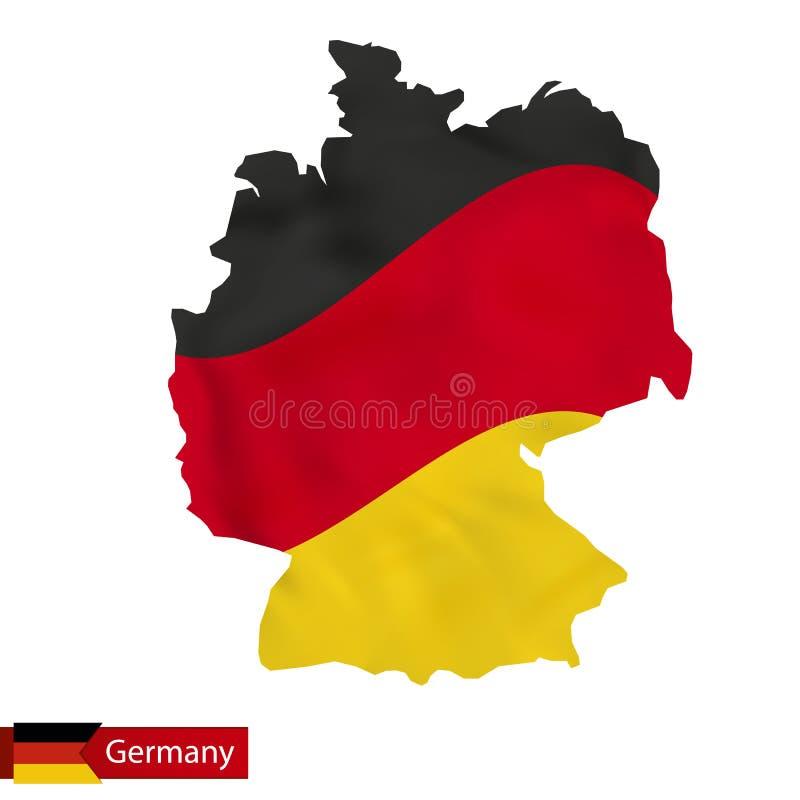 Deutschland-Karte mit wellenartig bewegender Flagge von Deutschland lizenzfreie abbildung