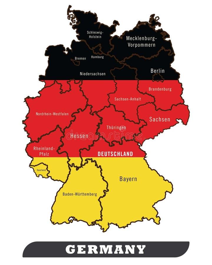Deutschland-Karte und Deutschland-Flagge vektor abbildung
