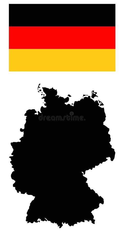Deutschland-Karte und Flagge - Land in zentral-West-Europa lizenzfreie abbildung