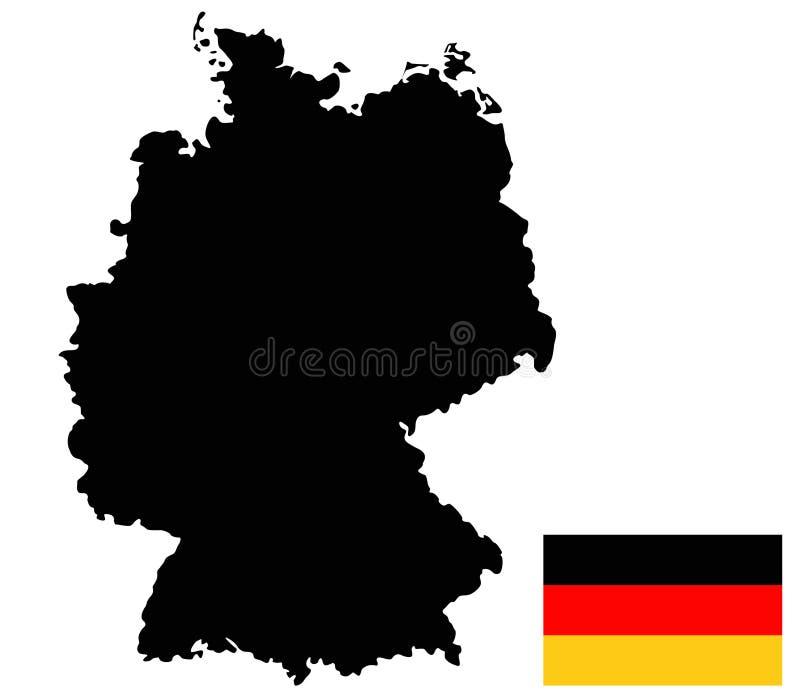 Deutschland-Karte und Flagge - Land in zentral-West-Europa stock abbildung