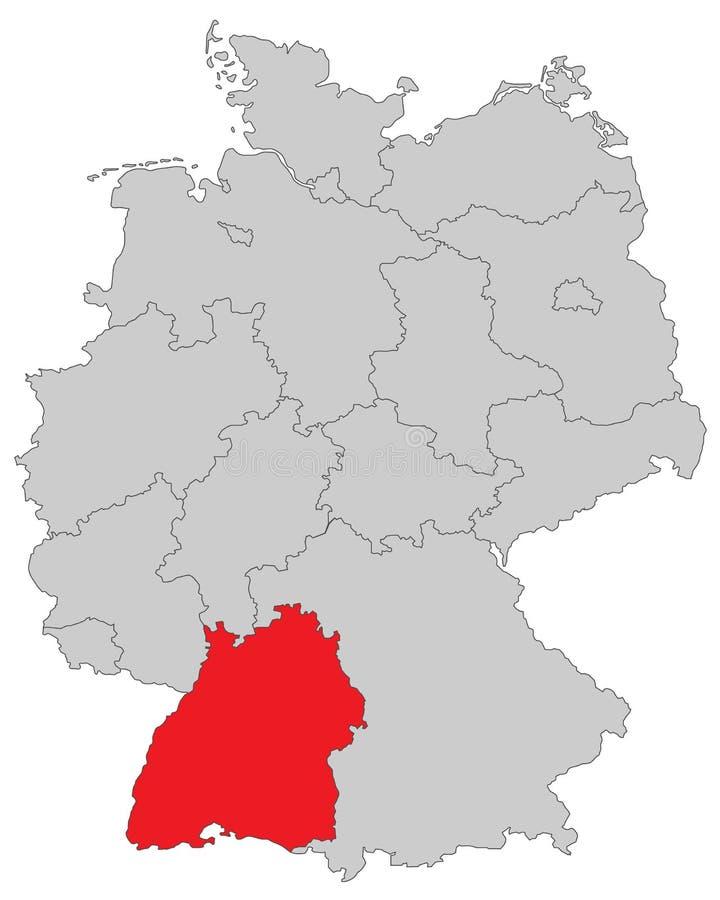 Deutschland - Karte von Deutschland - hohes ausführliches 'Baden Wurttembergs ' stock abbildung