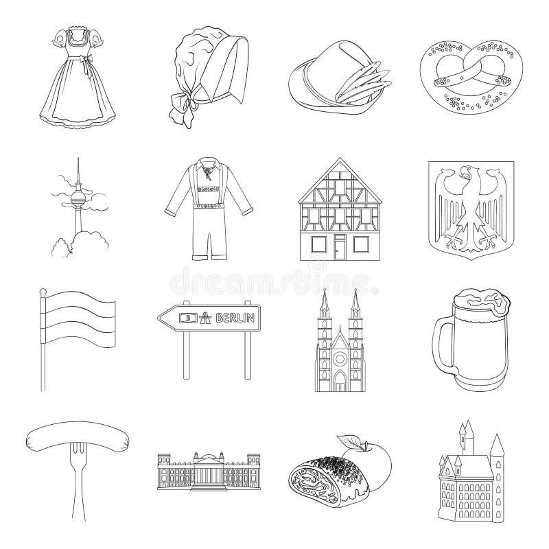 Deutschland, Land, Architektur und andere Netzikone in der Entwurfsart Attribute, Tourismus, Oktoberfest-Ikonen im Satz vektor abbildung