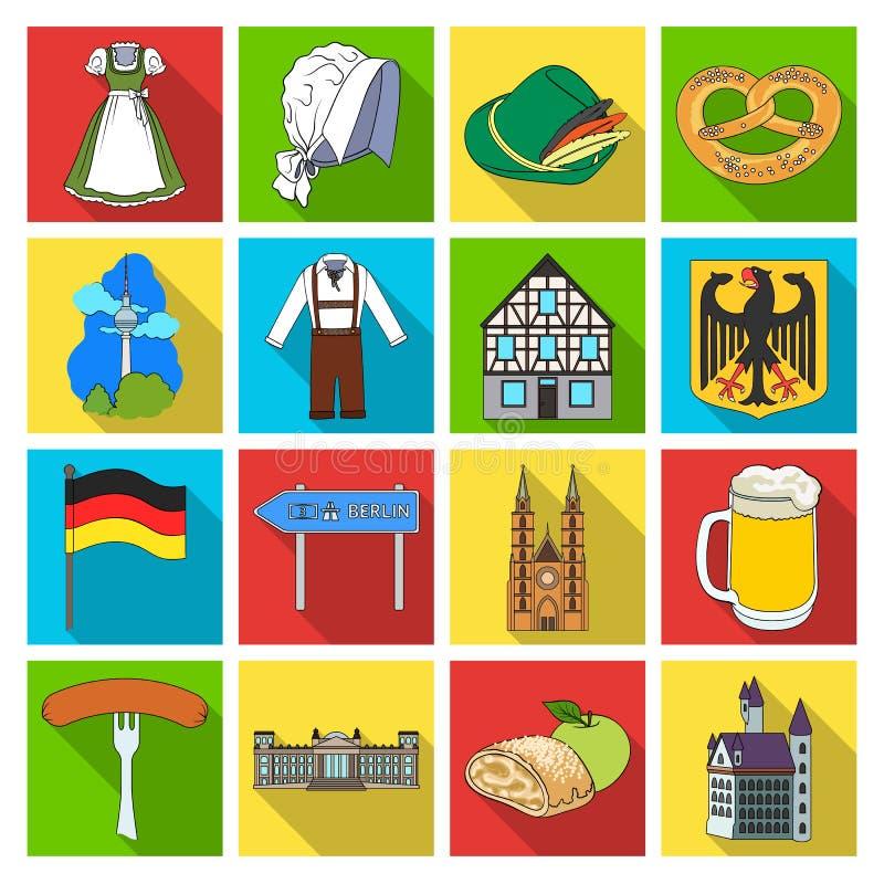 Deutschland, Land, Architektur und andere Netzikone in der flachen Art Attribute, Tourismus, Oktoberfest-Ikonen im Satz vektor abbildung