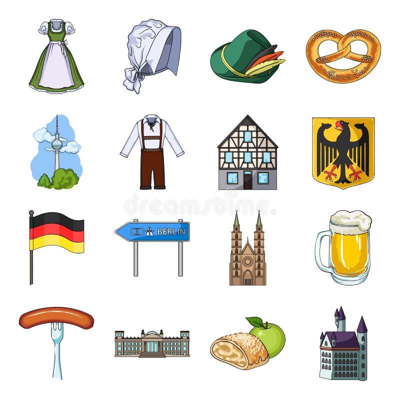 Deutschland, Land, Architektur und andere Netzikone in der Karikaturart Attribute, Tourismus, Oktoberfest-Ikonen im Satz lizenzfreie abbildung