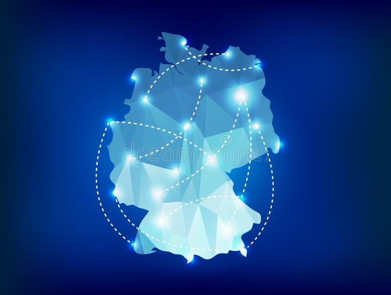 Deutschland-Landkarte polygonal mit Scheinwerferlichtwinkel des leistungshebels vektor abbildung