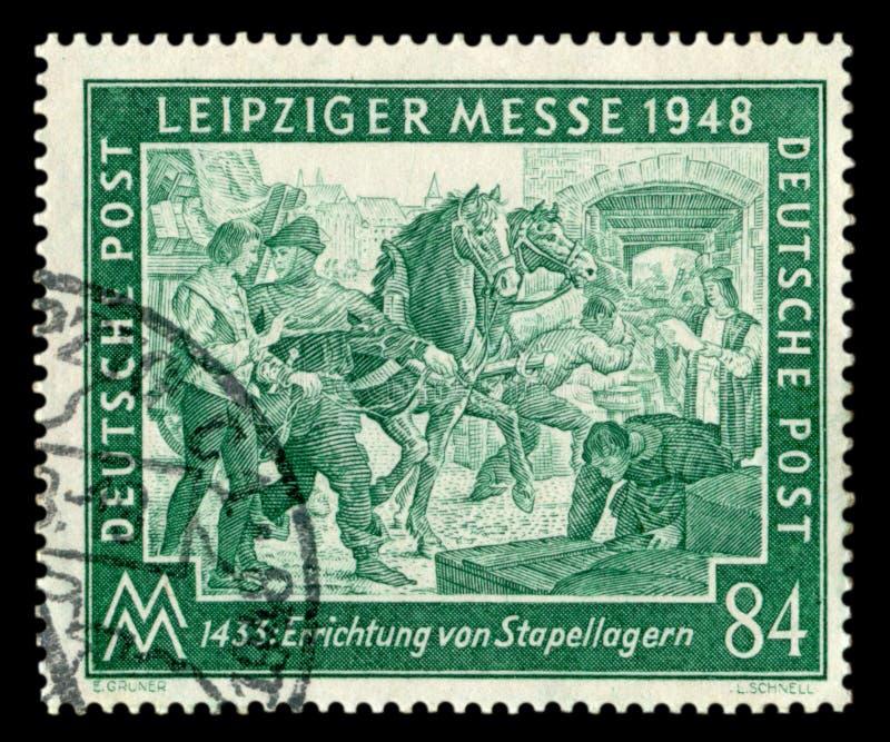 DEUTSCHLAND - 7. M?rz 1948: Deutscher historischer Stempel: Fr?hling Leipzig-Handelsmesse mit spezieller Annullierung am 7. M?rz  lizenzfreie stockfotos