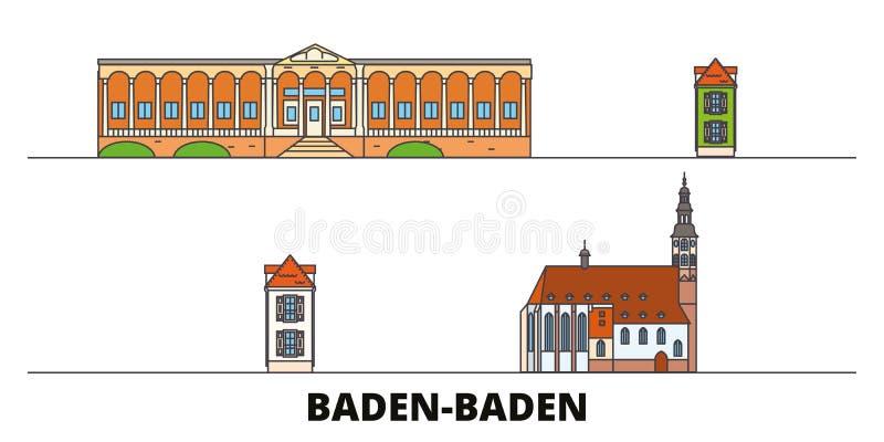 Deutschland, Markstein-Vektorillustration Baden Badens flache Deutschland, Baden Baden-Linie Stadt mit berühmtem Reiseanblick vektor abbildung