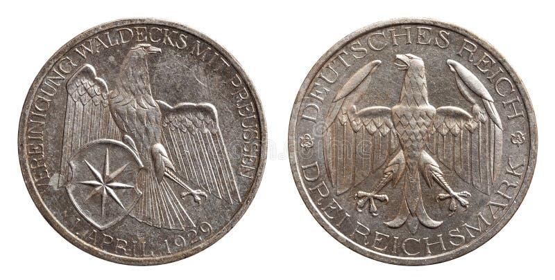 Deutschland-Neusilbermünze 3 waldeck Vereinheitlichung mit drei Kennzeichen mit Preußen Weimar-Republik stockfotografie
