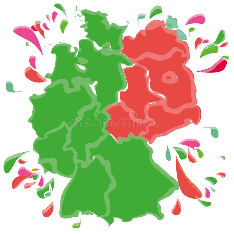 Spots and blobs with Germany in East and West. In green and red stock illustration
