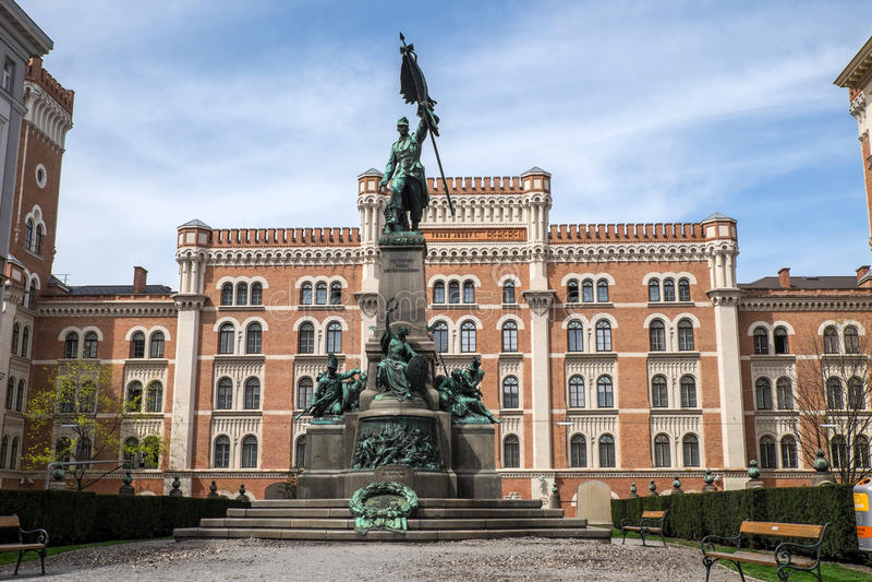 Deutschmeister (German champion) memorial in Vienna. Deutschmeister (German champion) memorial in front of the Rossauer Kaserne (Rossau barracks). It now houses stock photos