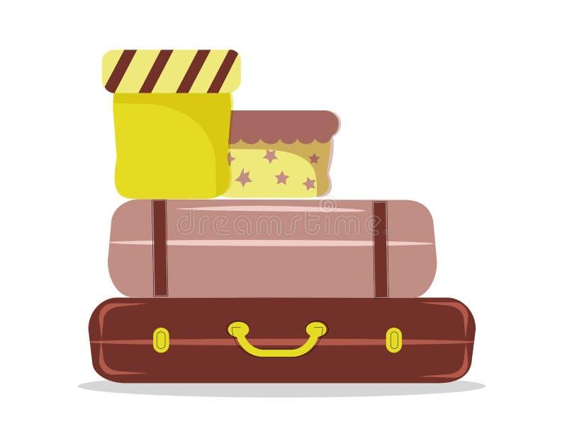 Deux élégants et boîtes fascinantes de valise dans des tonalités jaunes et lilas illustration libre de droits
