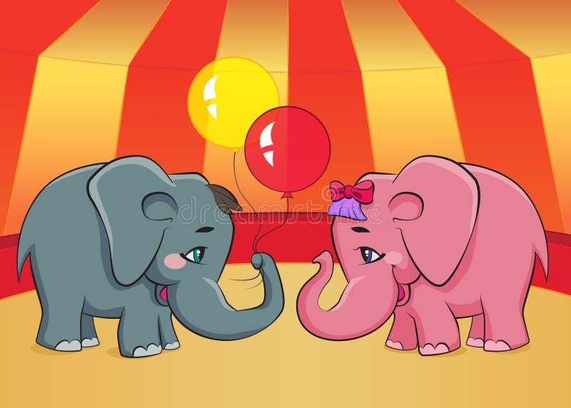 Deux éléphants de bande dessinée illustration stock