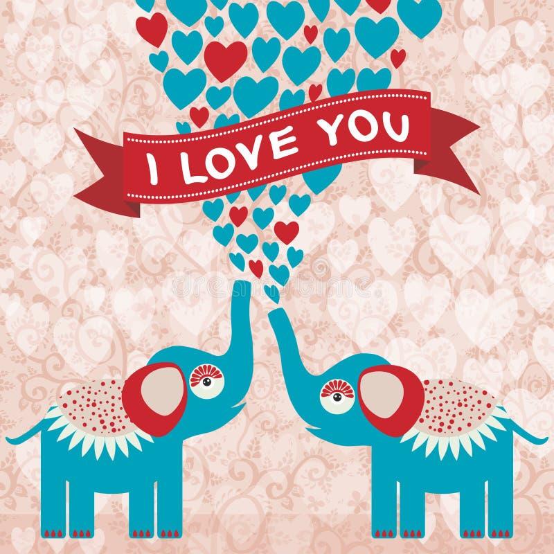 Deux éléphants enamourés mignons dans l'amour Carte de Saint-Valentin, carte de voeux illustration libre de droits