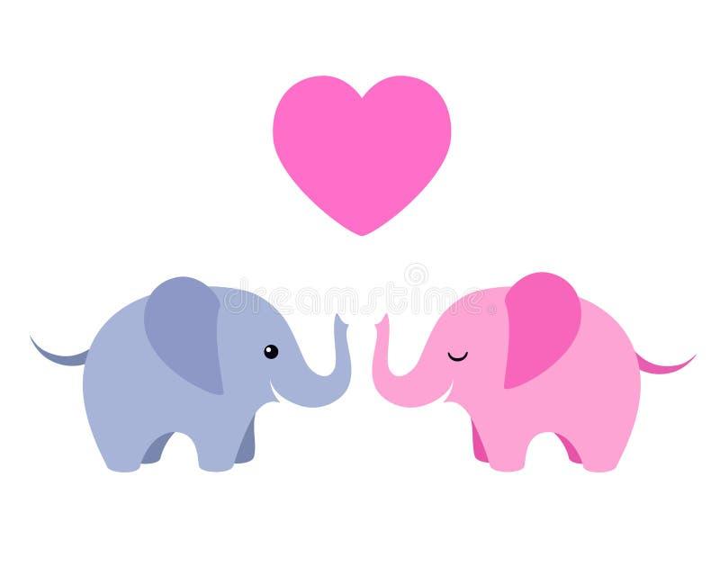 Deux éléphants mignons avec le coeur d'isolement sur le fond blanc illustration stock