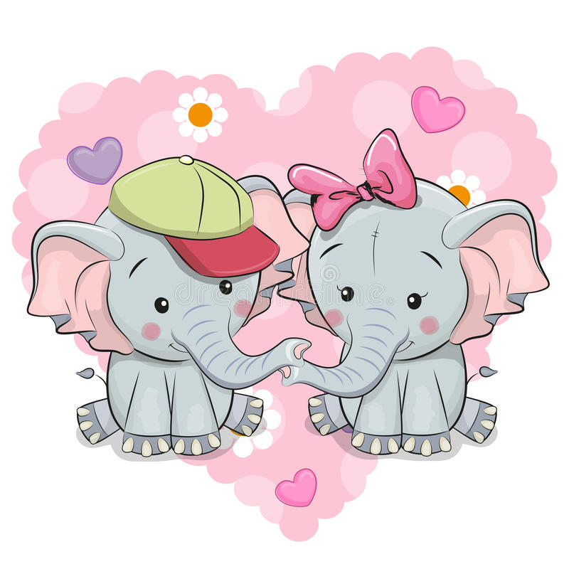 Deux éléphants mignons de bande dessinée illustration de vecteur