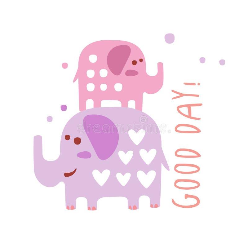 Deux éléphants mignons de bande dessinée Illustration tirée par la main colorée de vecteur de beau jour illustration libre de droits