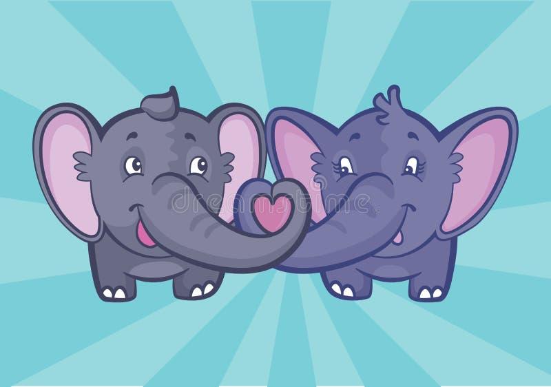 Deux éléphants mignons pour la carte de Valentine illustration de vecteur