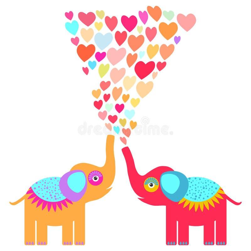 Deux éléphants oranges et rouges mignons avec le coeur orange bleu lilas rose sur le fond blanc Invitation originale, saluant illustration libre de droits