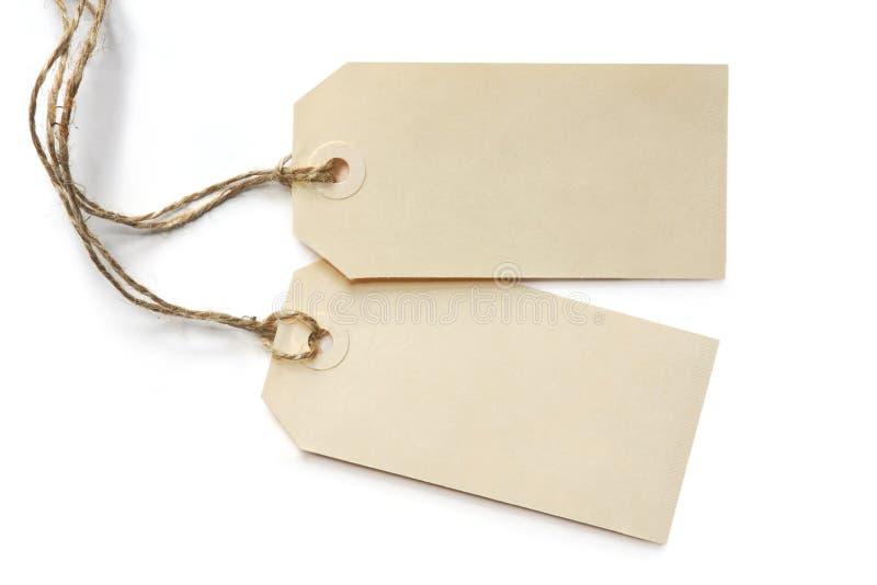Deux étiquettes en blanc photo libre de droits