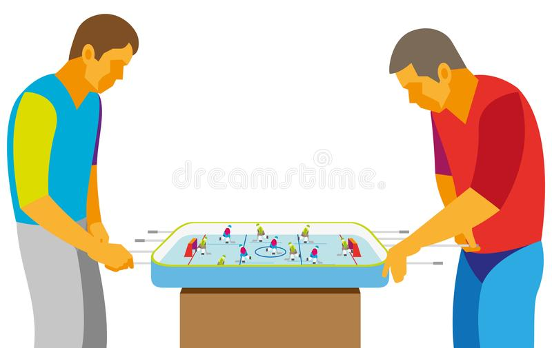 Deux adolescents jouant avec enthousiasme l'hockey de table de jeu photos stock