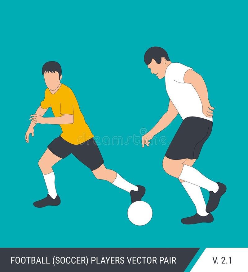 Deux adversaires du football de différentes équipes luttent pour la boule Footballeurs, le défenseur et combat d'attaquant pour illustration de vecteur