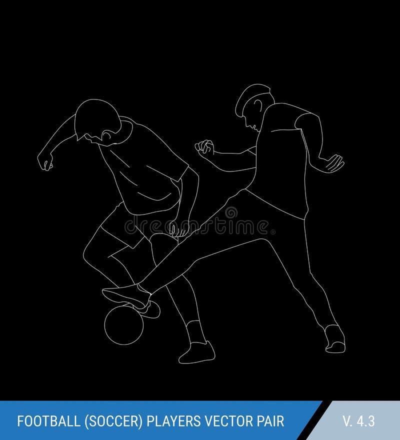 Deux adversaires du football de différentes équipes luttent pour la boule Les footballeurs luttent pour la boule contour illustration de vecteur