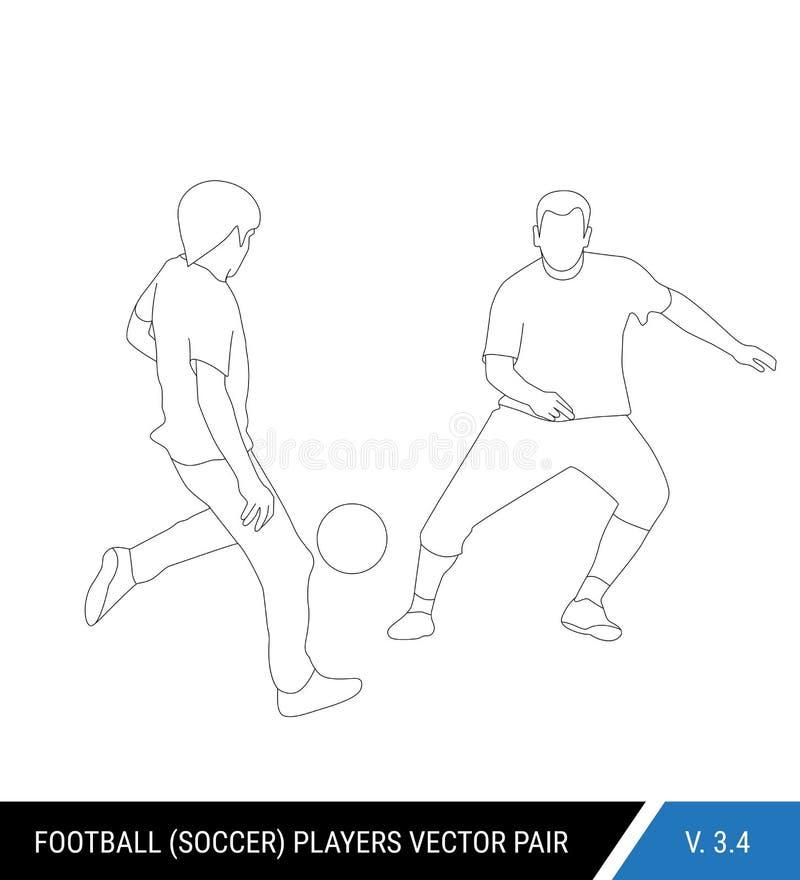 Deux adversaires du football de différentes équipes luttent pour la boule Les footballeurs luttent pour la boule contour illustration stock