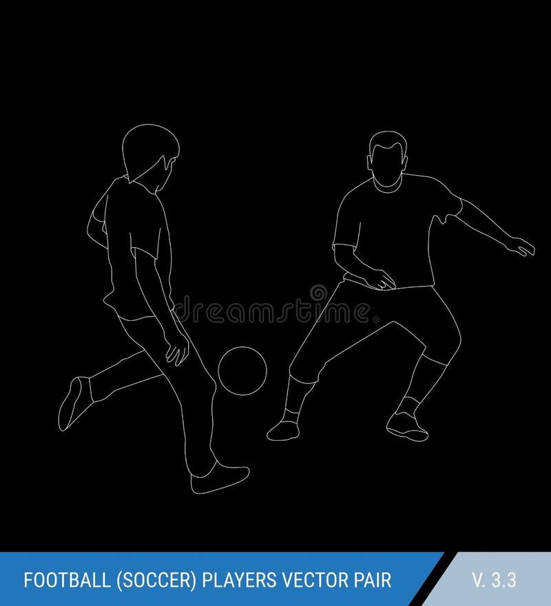 Deux adversaires du football de différentes équipes luttent pour la boule Les footballeurs luttent pour la boule contour illustration libre de droits