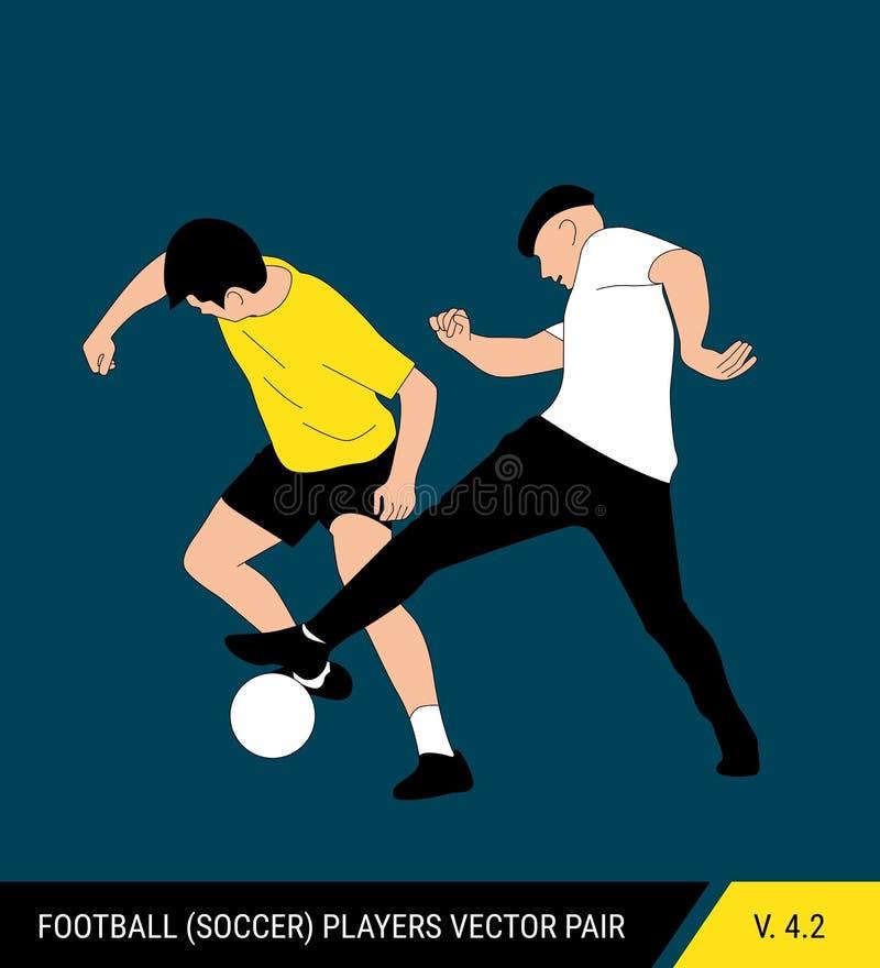 Deux adversaires du football de différentes équipes luttent pour la boule Les footballeurs luttent pour la boule Vecteur coloré illustration de vecteur