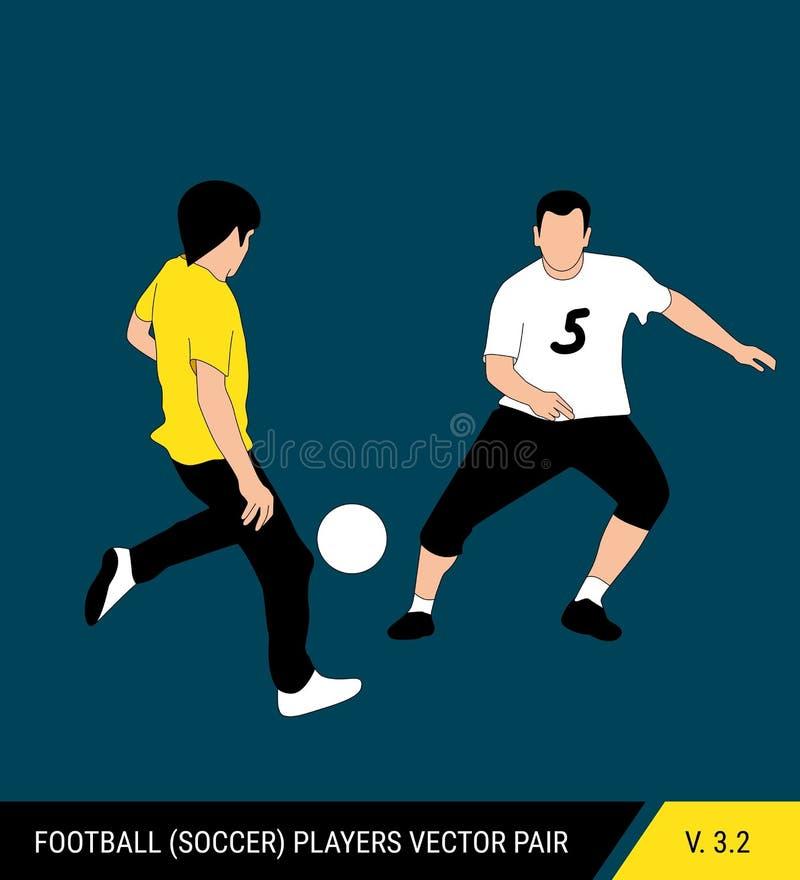Deux adversaires du football de différentes équipes luttent pour la boule Les footballeurs luttent pour la boule Vecteur coloré illustration libre de droits