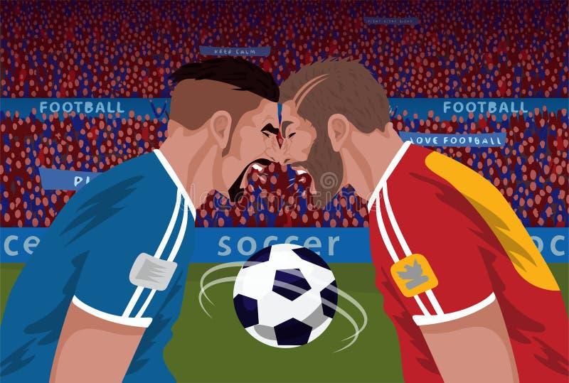 Deux adversaires fâchés du football illustration libre de droits