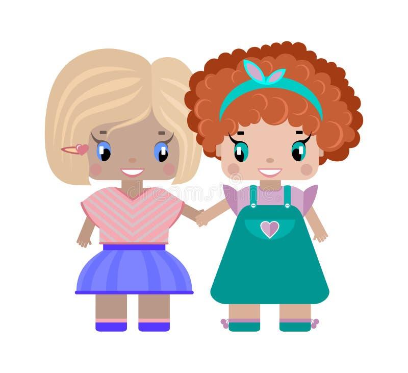 deux amies de filles tenant des mains illustration libre de droits