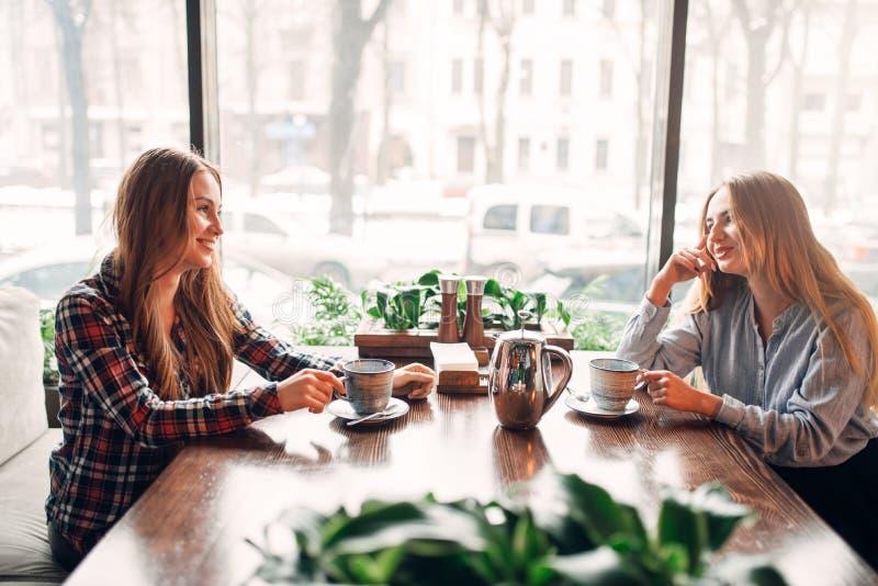 Deux amies se sont réunies dans un café pour boire du café image libre de droits