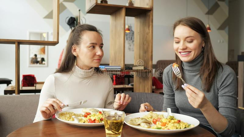 Deux amis de femme mangent ensemble en café et parlent, appréciant leur nourriture photos stock