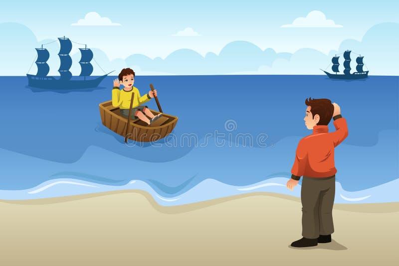 Deux amis disant au revoir l'illustration illustration stock