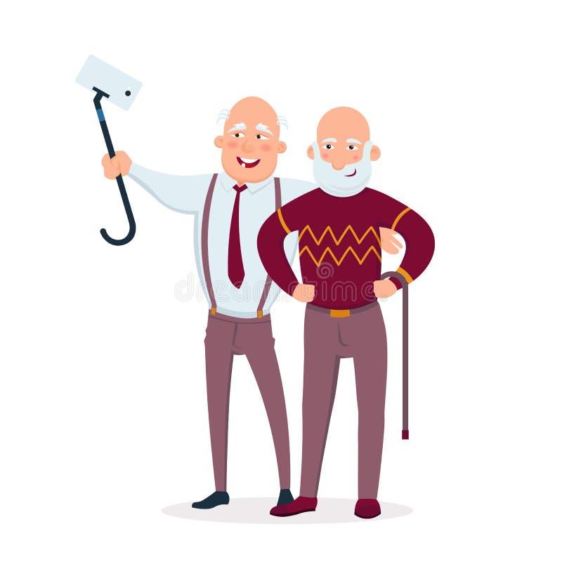 Deux amis gais d'hommes supérieurs tenant ensemble l'illustration plate de vecteur Personnes âgées faisant le selfie et ayant l'a illustration de vecteur