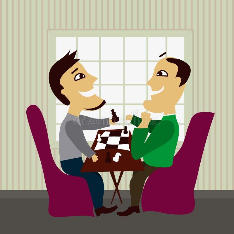 Deux amis mâles jouant aux échecs illustration stock
