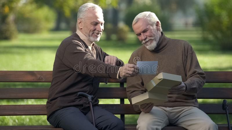 Deux amis masculins sur le banc de parc regardant la photo et souriant, m photo stock