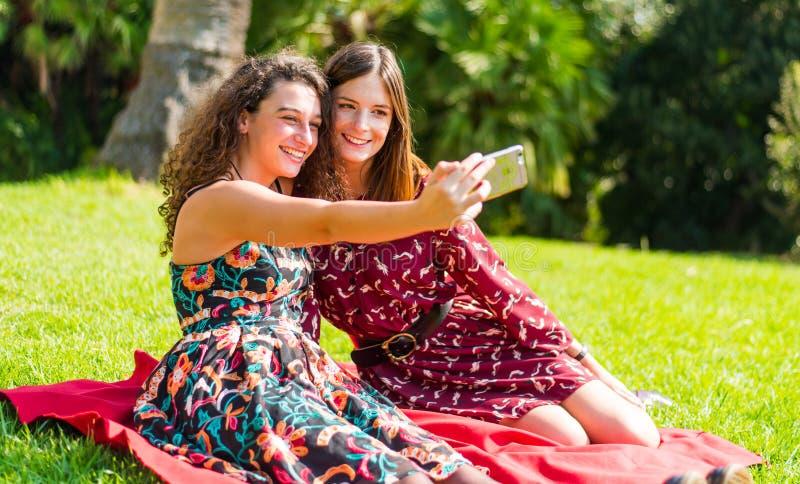 Deux amis prenant un selfie photos stock