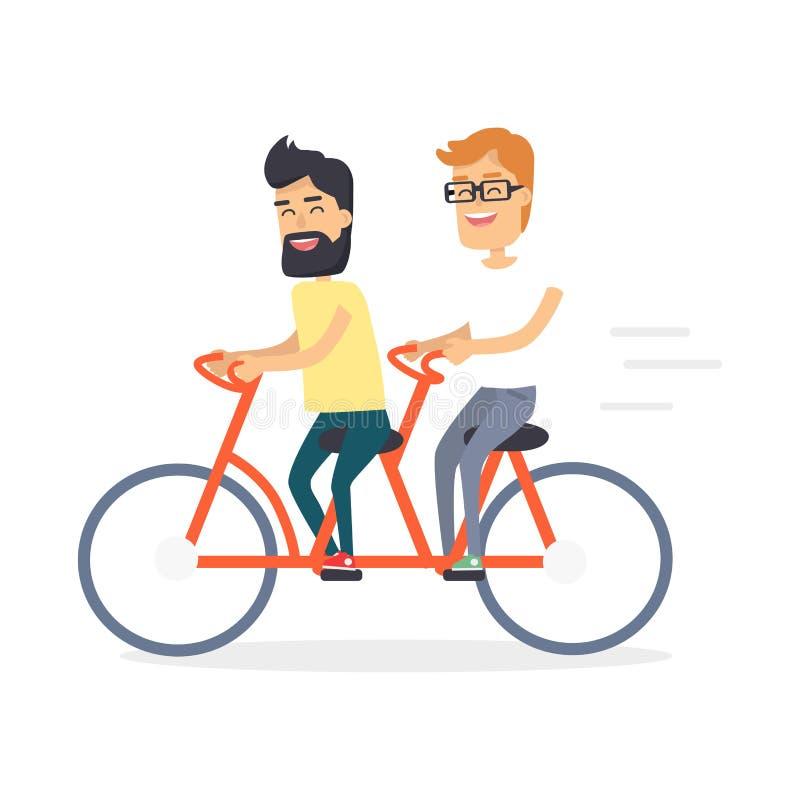 Deux amis sur la double icône rouge de graphique de bicyclette illustration stock