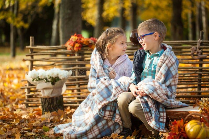 Deux amis : un garçon et une fille en automne garent se reposer sur le banc en bois près d'une barrière photographie stock libre de droits