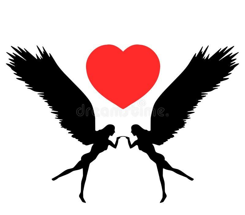 Deux anges avec une forme de coeur illustration de vecteur