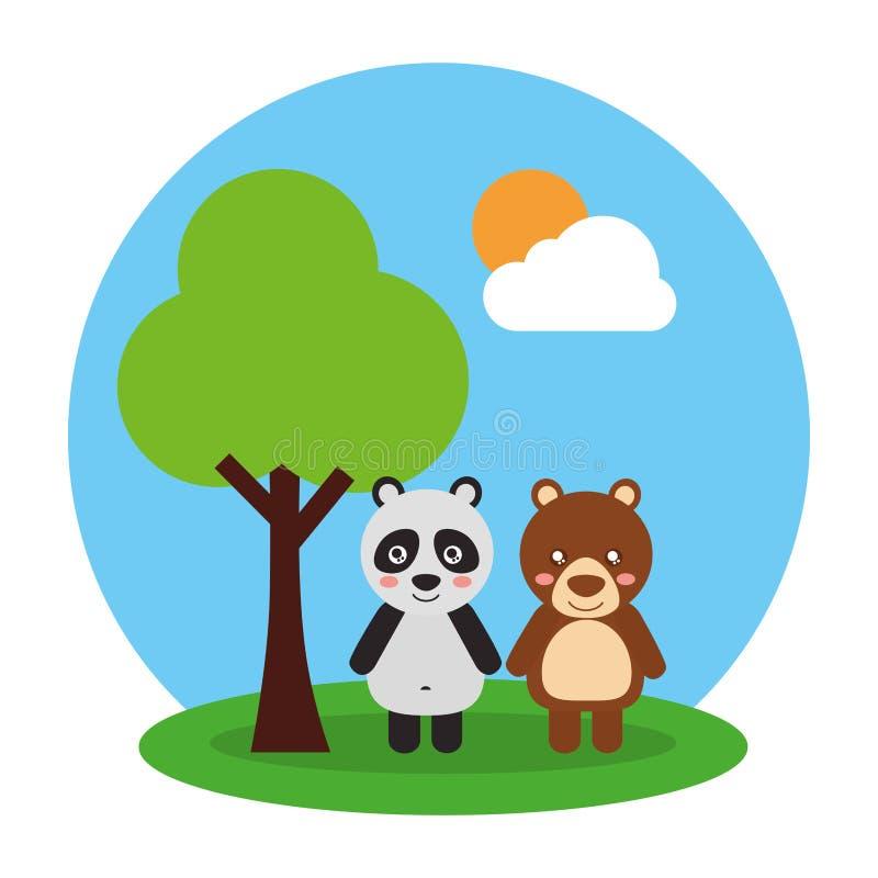 Deux animaux mignons ours et panda amicaux illustration stock