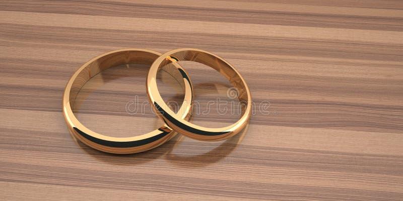 Deux anneaux les épousant d'or sont grands ci-dessous et petits en haut sur un fond en bois de table illustration stock